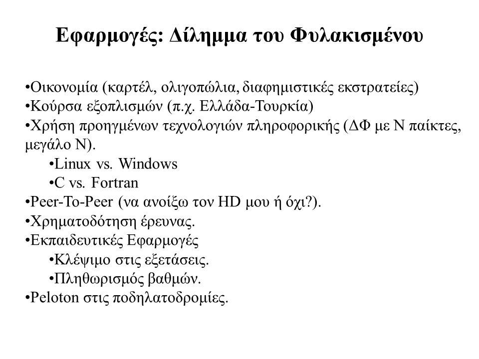 Εφαρμογές: Δίλημμα του Φυλακισμένου Οικονομία (καρτέλ, ολιγοπώλια, διαφημιστικές εκστρατείες) Κούρσα εξοπλισμών (π.χ. Ελλάδα-Τουρκία) Χρήση προηγμένων