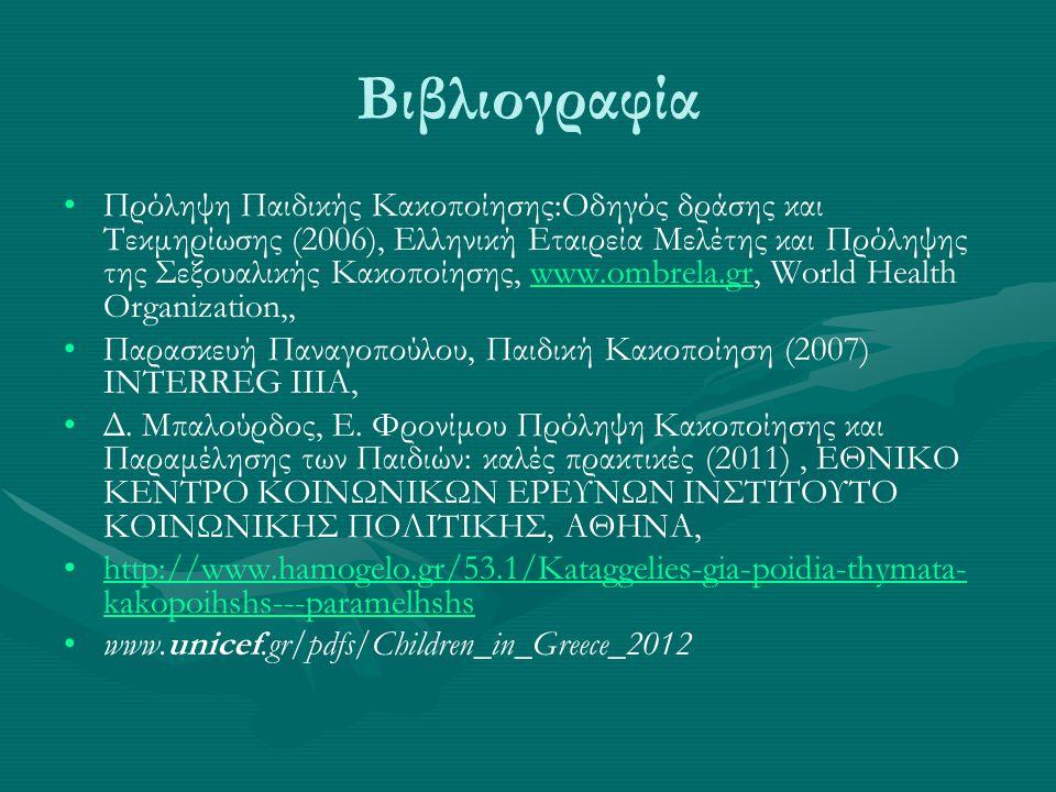 Βιβλιογραφία Πρόληψη Παιδικής Κακοποίησης:Οδηγός δράσης και Τεκμηρίωσης (2006), Ελληνική Εταιρεία Μελέτης και Πρόληψης της Σεξουαλικής Κακοποίησης, www.ombrela.gr, World Health Organization,,www.ombrela.gr Παρασκευή Παναγοπούλου, Παιδική Κακοποίηση (2007) INTERREG IIIA, Δ.