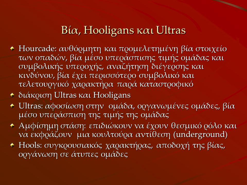 Βία, Hooligans και Ultras Hourcade: αυθόρμητη και προμελετημένη βία στοιχείο των οπαδών, βία μέσο υπεράσπισης τιμής ομάδας και συμβολικής υπεροχής, αναζήτηση διέγερσης και κινδύνου, βία έχει περισσότερο συμβολικό και τελετουργικό χαρακτήρα παρά καταστροφικό διάκριση Ultras και Hοοligans Ultras: αφοσίωση στην ομάδα, οργανωμένες ομάδες, βία μέσο υπεράσπιση της τιμής της ομάδας Αμφίσημη στάση: επιδιώκουν να έχουν θεσμικό ρόλο και να εκφράζουν μια κουλτούρα αντίθεση (underground) Hools: συγκρουσιακός χαρακτήρας, αποδοχή της βίας, οργάνωση σε άτυπες ομάδες