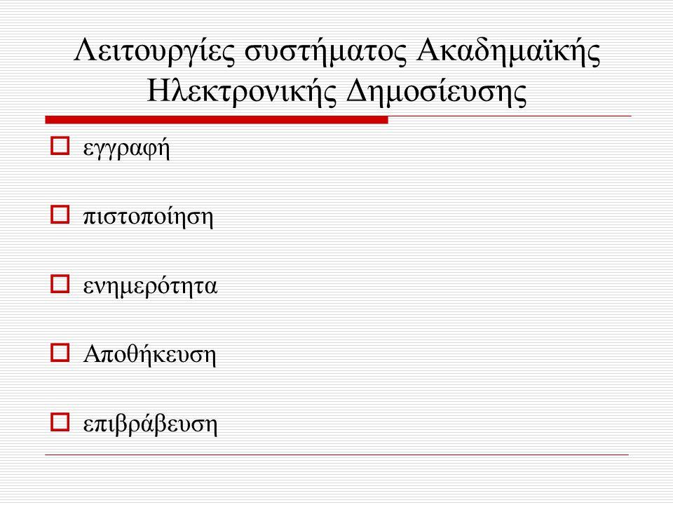 Λειτουργίες συστήματος Ακαδημαϊκής Ηλεκτρονικής Δημοσίευσης  εγγραφή  πιστοποίηση  ενημερότητα  Αποθήκευση  επιβράβευση