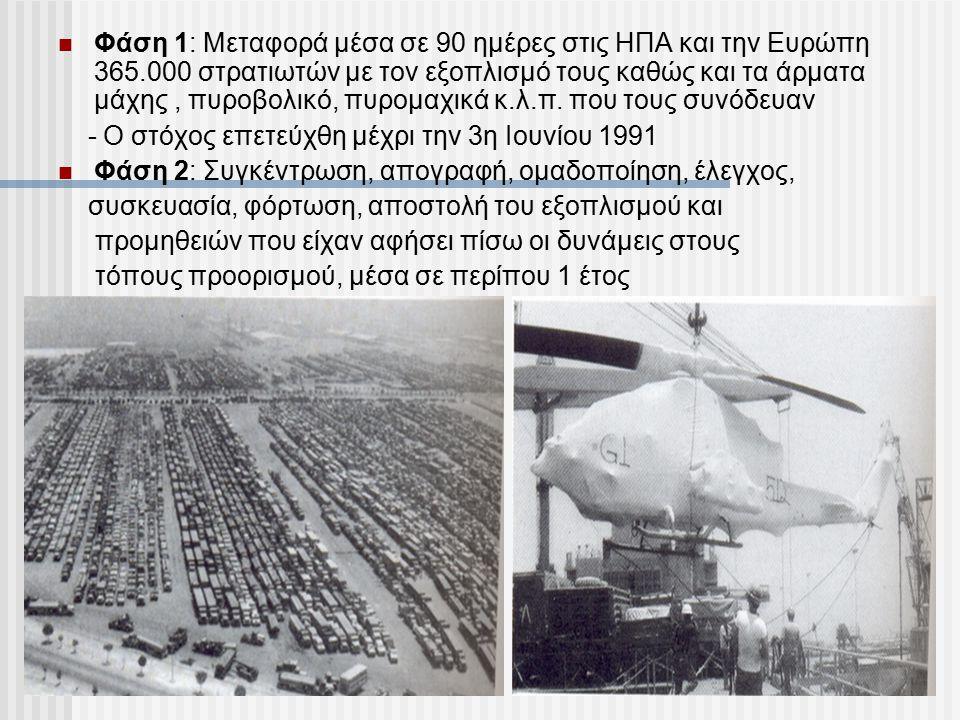 Φάση 1: Μεταφορά μέσα σε 90 ημέρες στις ΗΠΑ και την Ευρώπη 365.000 στρατιωτών με τον εξοπλισμό τους καθώς και τα άρματα μάχης, πυροβολικό, πυρομαχικά
