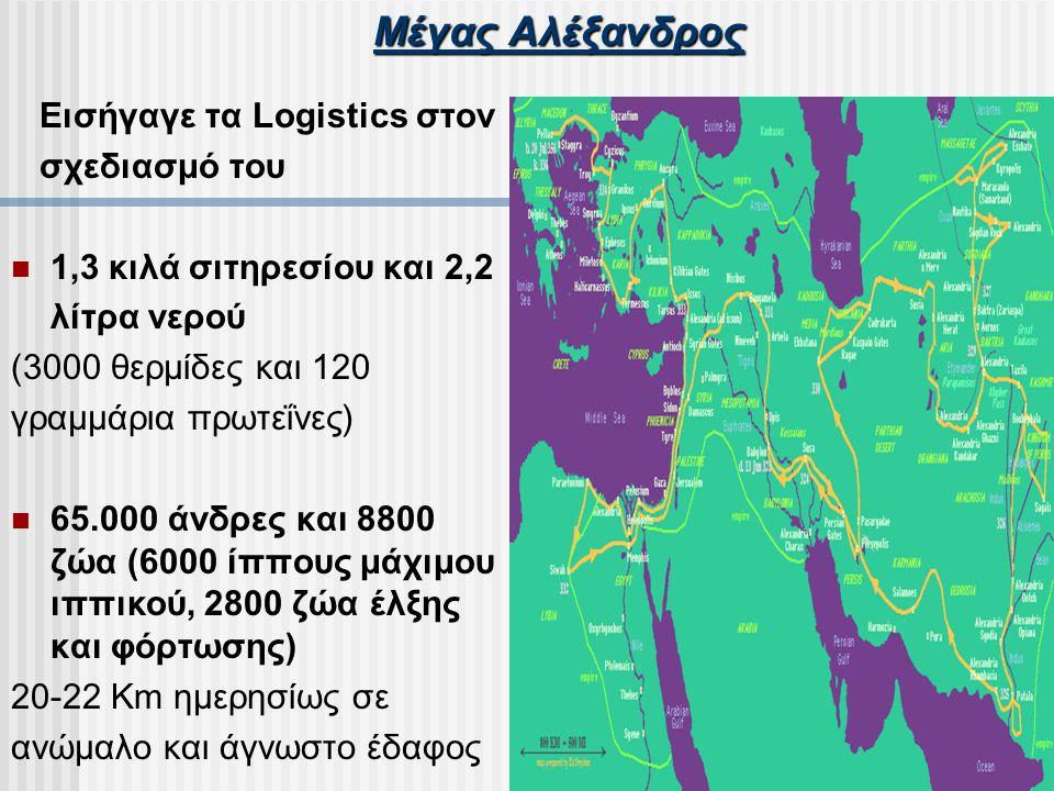 Μέγας Αλέξανδρος Εισήγαγε τα Logistics στον σχεδιασμό του 1,3 κιλά σιτηρεσίου και 2,2 λίτρα νερού (3000 θερμίδες και 120 γραμμάρια πρωτεΐνες) 65.000 ά