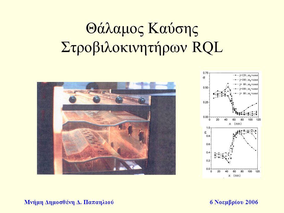 Μνήμη Δημοσθένη Δ. Παπαηλιού6 Νοεμβρίου 2006 Θάλαμος Καύσης Στροβιλοκινητήρων RQL