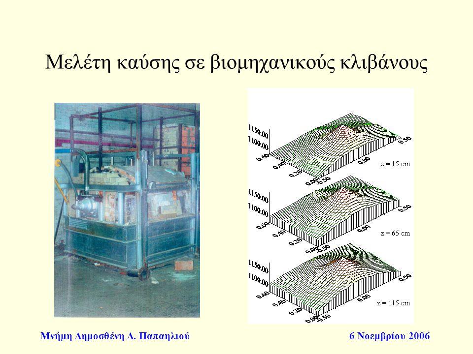 Μνήμη Δημοσθένη Δ. Παπαηλιού6 Νοεμβρίου 2006 Μελέτη καύσης σε βιομηχανικούς κλιβάνους