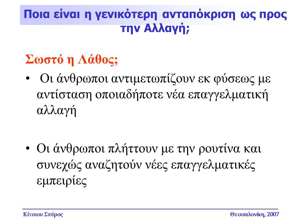 Κίτσιου ΣπύροςΘεσσαλονίκη, 2007 Σωστό η Λάθος; Οι άνθρωποι αντιμετωπίζουν εκ φύσεως με αντίσταση οποιαδήποτε νέα επαγγελματική αλλαγή Οι άνθρωποι πλήτ