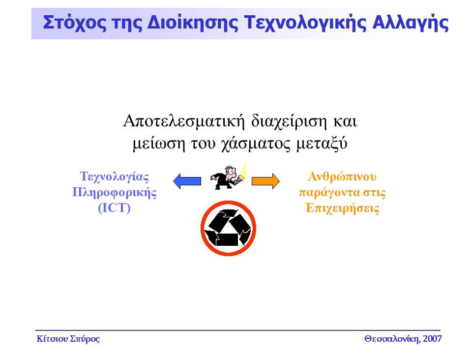 Κίτσιου ΣπύροςΘεσσαλονίκη, 2007 Στόχος της Διοίκησης Τεχνολογικής Αλλαγής Αποτελεσματική διαχείριση και μείωση του χάσματος μεταξύ Τεχνολογίας Πληροφο