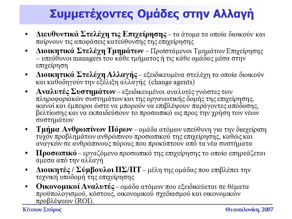 Κίτσιου ΣπύροςΘεσσαλονίκη, 2007 Διευθυντικά Στελέχη τις Επιχείρησης – τα άτομα τα οποία διοικούν και παίρνουν τις αποφάσεις κατεύθυνσης της επιχείρηση
