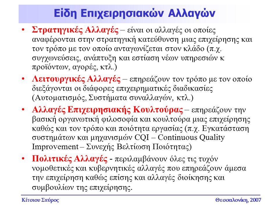 Κίτσιου ΣπύροςΘεσσαλονίκη, 2007 Στρατηγικές Αλλαγές – είναι οι αλλαγές οι οποίες αναφέρονται στην στρατηγική κατεύθυνση μιας επιχείρησης και τον τρόπο
