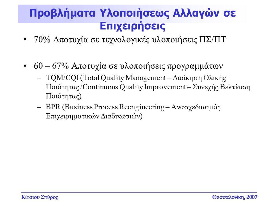 Κίτσιου ΣπύροςΘεσσαλονίκη, 2007 70% Αποτυχία σε τεχνολογικές υλοποιήσεις ΠΣ/ΠΤ 60 – 67% Αποτυχία σε υλοποιήσεις προγραμμάτων –TQM/CQI (Total Quality M