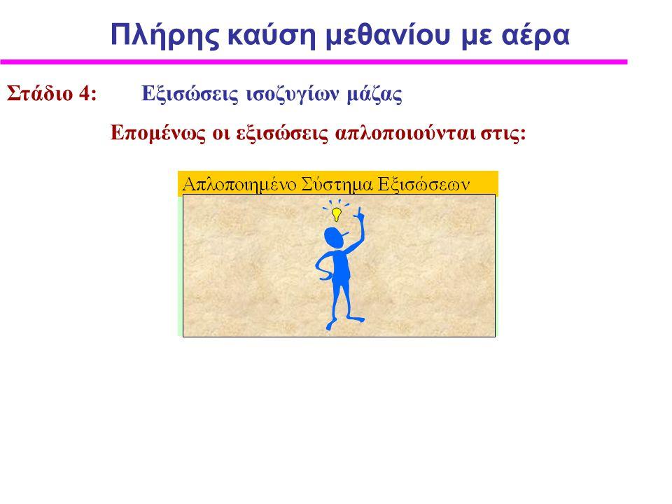 Στάδιο 4: Εξισώσεις ισοζυγίων μάζας Επομένως οι εξισώσεις απλοποιούνται στις: Πλήρης καύση μεθανίου με αέρα