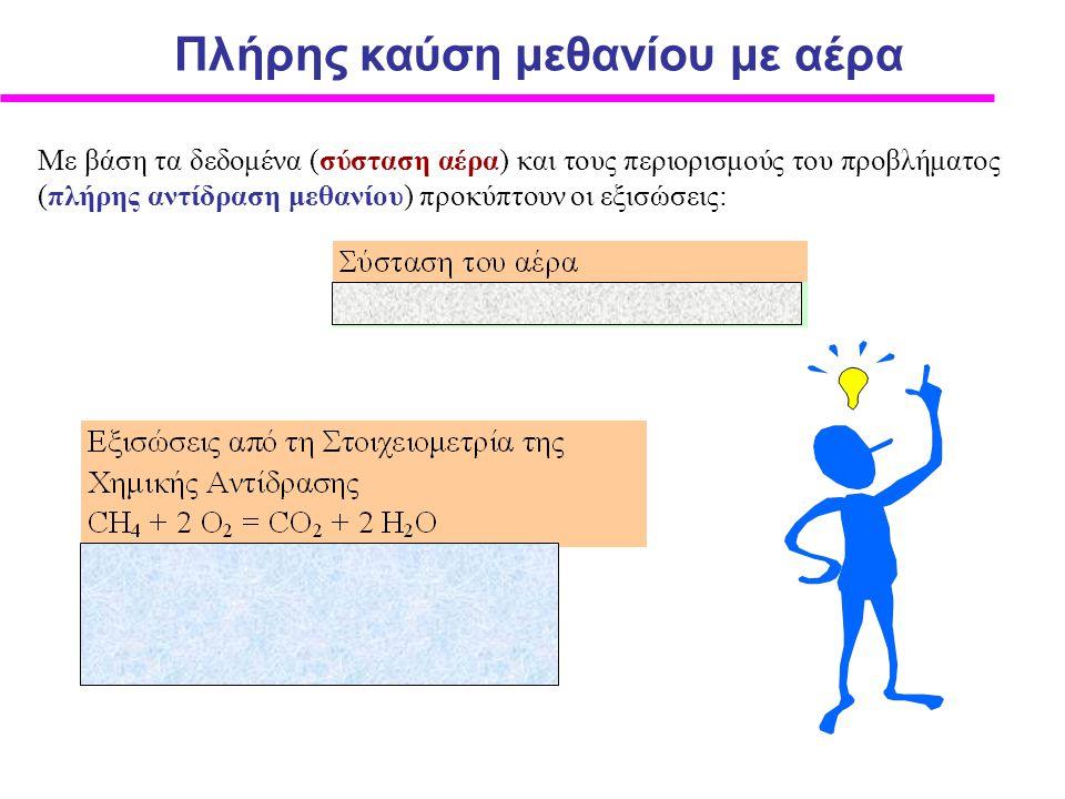 Με βάση τα δεδομένα (σύσταση αέρα) και τους περιορισμούς του προβλήματος (πλήρης αντίδραση μεθανίου) προκύπτουν οι εξισώσεις: Πλήρης καύση μεθανίου με