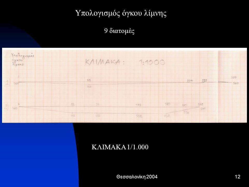 Θεσσαλονίκη 200412 9 διατομές ΚΛΙΜΑΚΑ 1/1.000 Υπολογισμός όγκου λίμνης