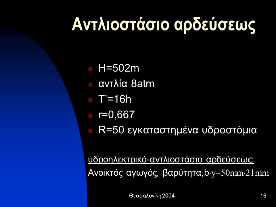 Θεσσαλονίκη 200416 Αντλιοστάσιο αρδεύσεως Η=502m αντλία 8atm T'=16h r=0,667 R=50 εγκαταστημένα υδροστόμια υδροηλεκτρικό-αντλιοστάσιο αρδεύσεως: Ανοικτός αγωγός, βαρύτητα,b  y=50mm  21mm