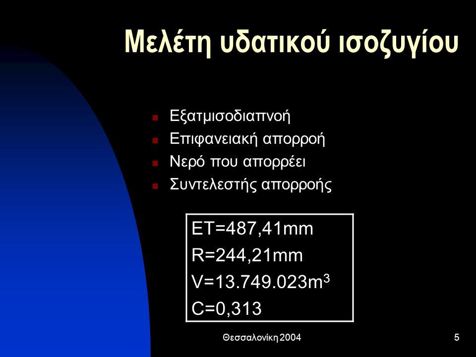 Θεσσαλονίκη 20045 Μελέτη υδατικού ισοζυγίου Εξατμισοδιαπνοή Επιφανειακή απορροή Νερό που απορρέει Συντελεστής απορροής ΕΤ=487,41mm R=244,21mm V=13.749.023m 3 C=0,313