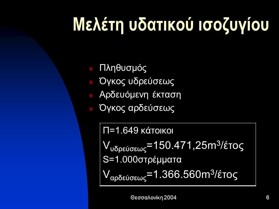 Θεσσαλονίκη 20046 Μελέτη υδατικού ισοζυγίου Πληθυσμός Όγκος υδρεύσεως Αρδευόμενη έκταση Όγκος αρδεύσεως Π=1.649 κάτοικοι V υδρεύσεως =150.471,25m 3 /έτος S=1.000στρέμματα V αρδεύσεως =1.366.560m 3 /έτος