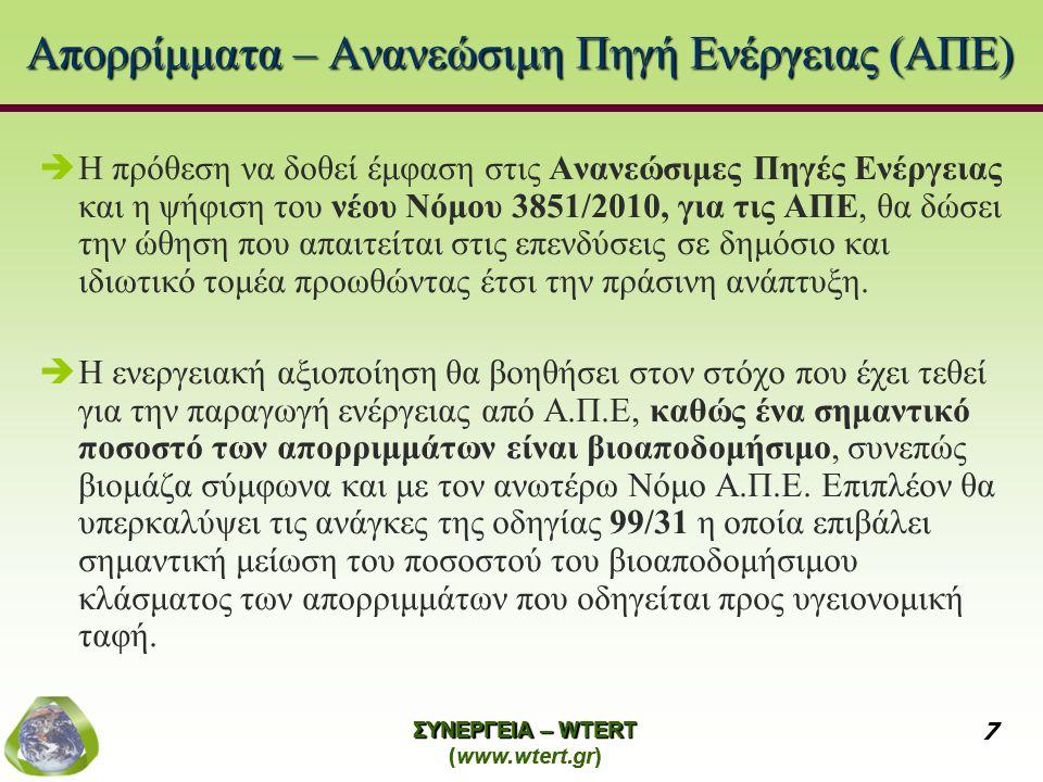 ΣΥΝΕΡΓΕΙΑ – WTERT (www.wtert.gr) 7 ΣΥΝΕΡΓΕΙΑ – WTERT (www.wtert.gr) 7 Απορρίμματα – Ανανεώσιμη Πηγή Ενέργειας (ΑΠΕ)  Η πρόθεση να δοθεί έμφαση στις Α