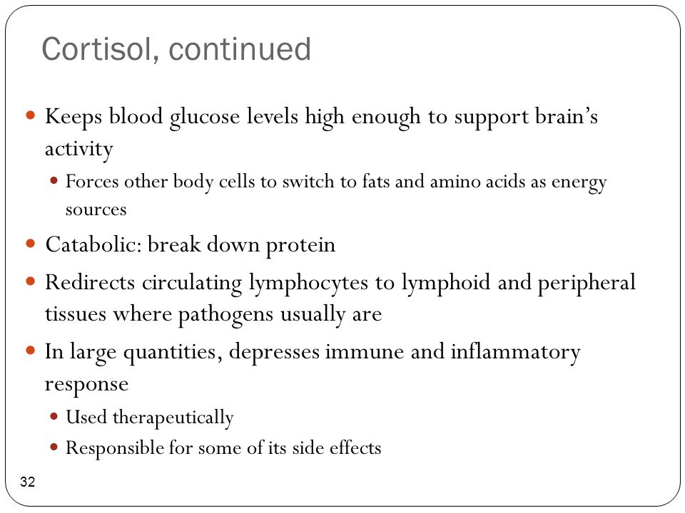 Cortisol, continued 32 Keeps blood glucose levels high enough to support brain's activity Forces other body cells to switch to fats and amino acids as