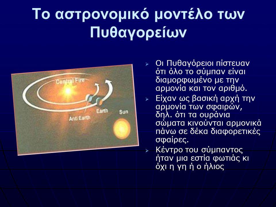 Το αστρονομικό μοντέλο των Πυθαγορείων   Οι Πυθαγόρειοι πίστευαν ότι όλο το σύμπαν είναι διαμορφωμένο με την αρμονία και τον αριθμό.   Είχαν ως βα