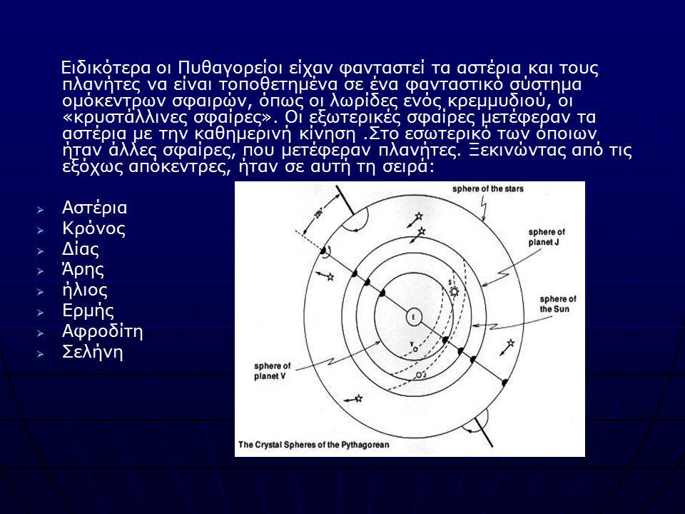 Ειδικότερα οι Πυθαγορείοι είχαν φανταστεί τα αστέρια και τους πλανήτες να είναι τοποθετημένα σε ένα φανταστικό σύστημα ομόκεντρων σφαιρών, όπως οι λωρ
