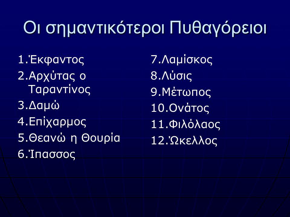 Οι σημαντικότεροι Πυθαγόρειοι 1.Έκφαντος 2.Αρχύτας ο Ταραντίνος 3.Δαμώ 4.Επίχαρμος 5.Θεανώ η Θουρία 6.Ίπασσος 7.Λαμίσκος 8.Λύσις 9.Μέτωπος 10.Ονάτος 1