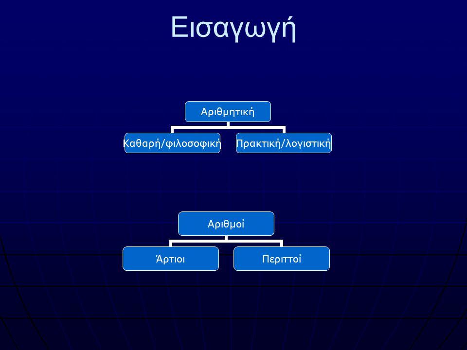 Εισαγωγή Αριθμητική Καθαρή/φιλοσοφικ ή Πρακτική/λογιστική Αριθμοί ΆρτιοιΠεριττοί