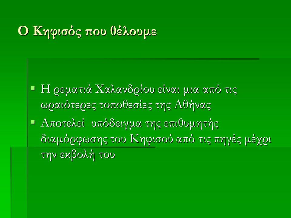 Ο Κηφισός που θέλουμε  Η ρεματιά Χαλανδρίου είναι μια από τις ωραιότερες τοποθεσίες της Αθήνας  Αποτελεί υπόδειγμα της επιθυμητής διαμόρφωσης του Κηφισού από τις πηγές μέχρι την εκβολή του