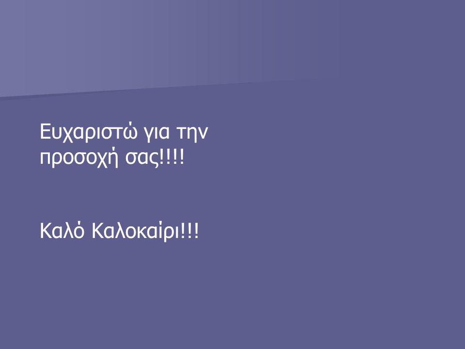 Ευχαριστώ για την προσοχή σας!!!! Καλό Καλοκαίρι!!!