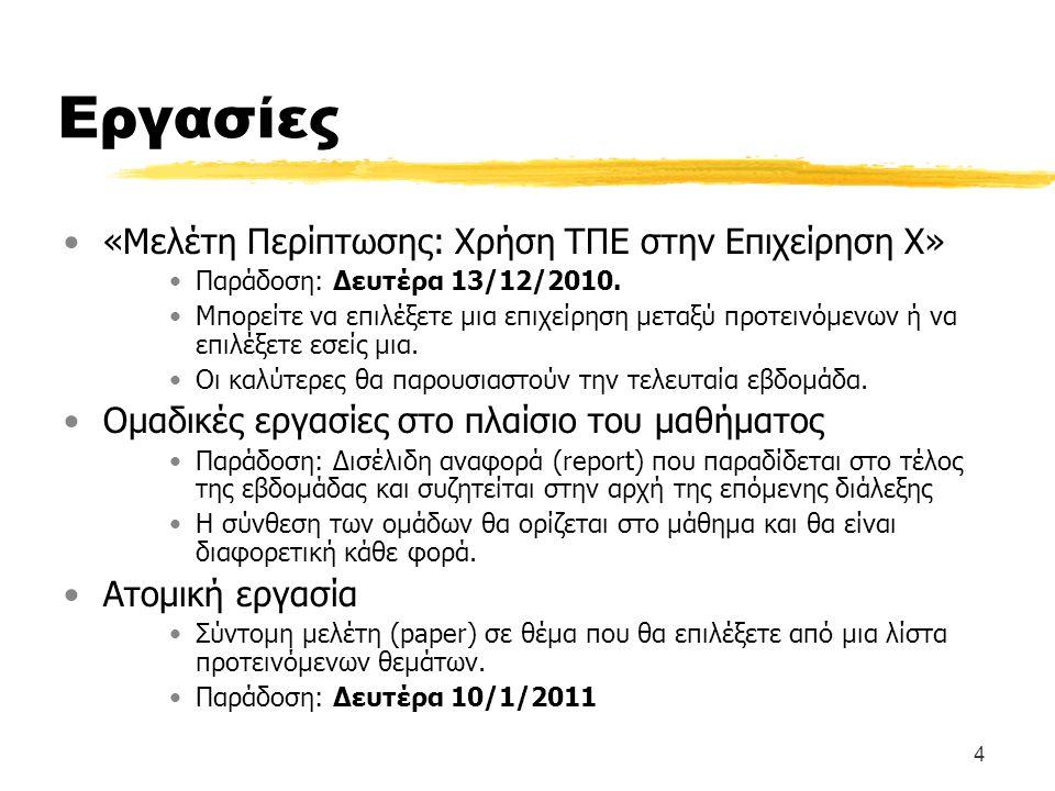 4 Εργασίες «Μελέτη Περίπτωσης: Χρήση ΤΠΕ στην Επιχείρηση Χ» Παράδοση: Δευτέρα 13/12/2010.