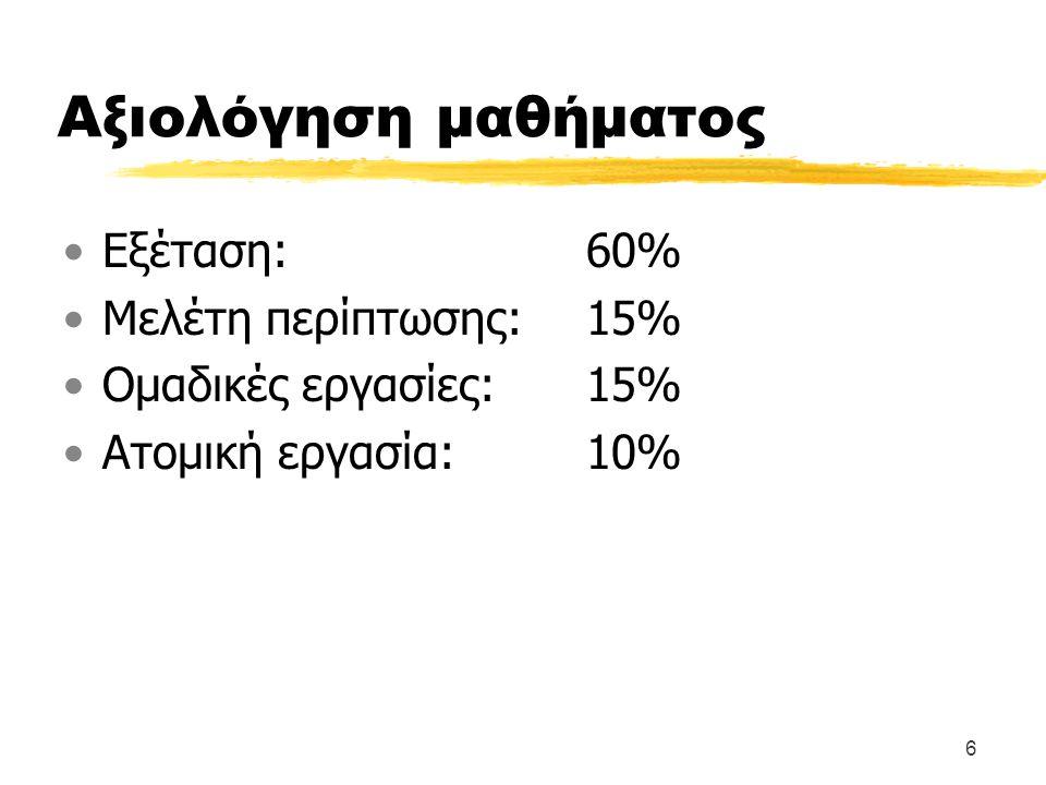 6 Αξιολόγηση μαθήματος Εξέταση:60% Μελέτη περίπτωσης:15% Ομαδικές εργασίες:15% Ατομική εργασία: 10%