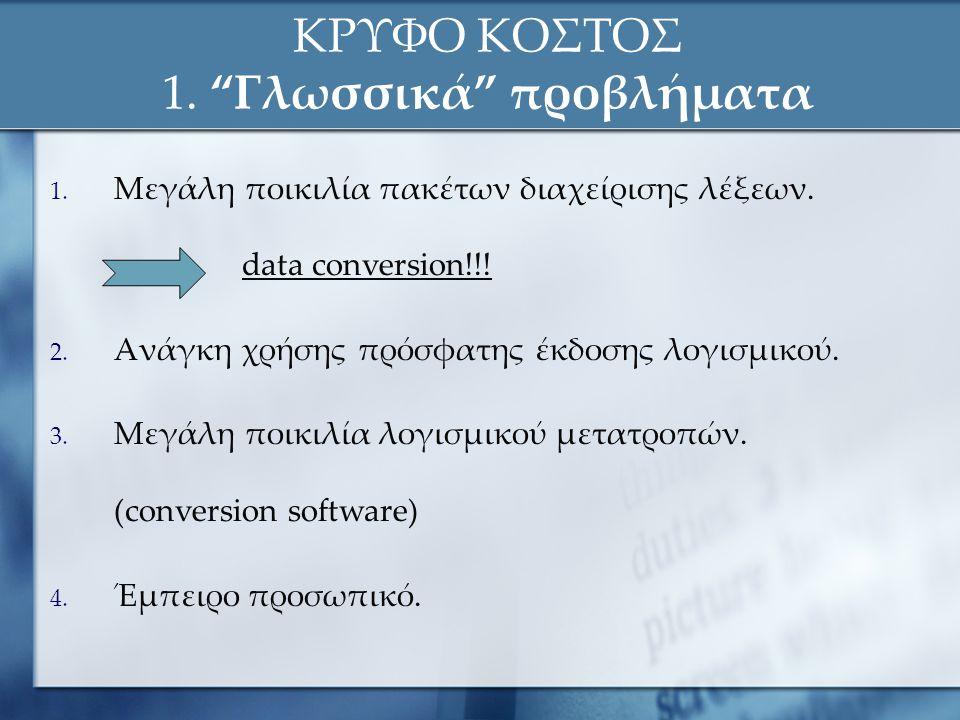 """ΚΡΥΦΟ ΚΟΣΤΟΣ 1. """"Γλωσσικά"""" προβλήματα 1. Μεγάλη ποικιλία πακέτων διαχείρισης λέξεων.. data conversion!!! 2. Ανάγκη χρήσης πρόσφατης έκδοσης λογισμικού"""
