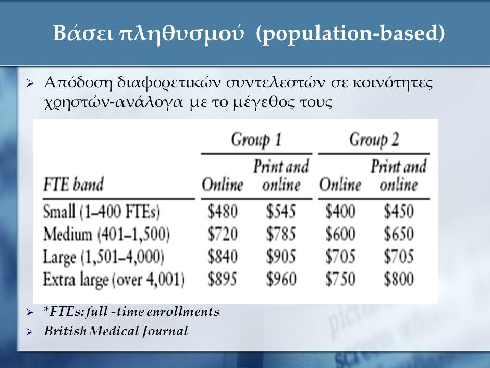 Βάσει πληθυσμού (population-based)  Απόδοση διαφορετικών συντελεστών σε κοινότητες χρηστών-ανάλογα με το μέγεθος τους  *FTEs: full -time enrollments  British Medical Journal