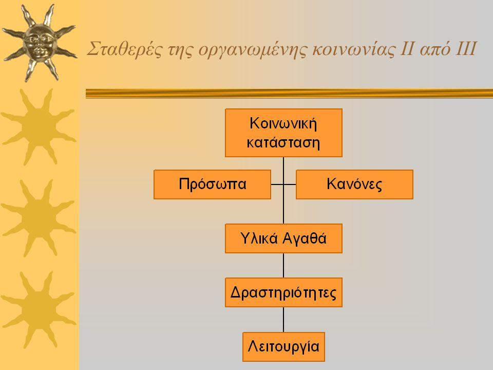 Σταθερές της οργανωμένης κοινωνίας Ι από ΙΙΙ  Οι άνθρωποι γεννιούνται μέσα σε ένα προϋπάρχον σύστημα, ή προσπαθούν να εισέλθουν σε ένα.  Σε κάθε σύν