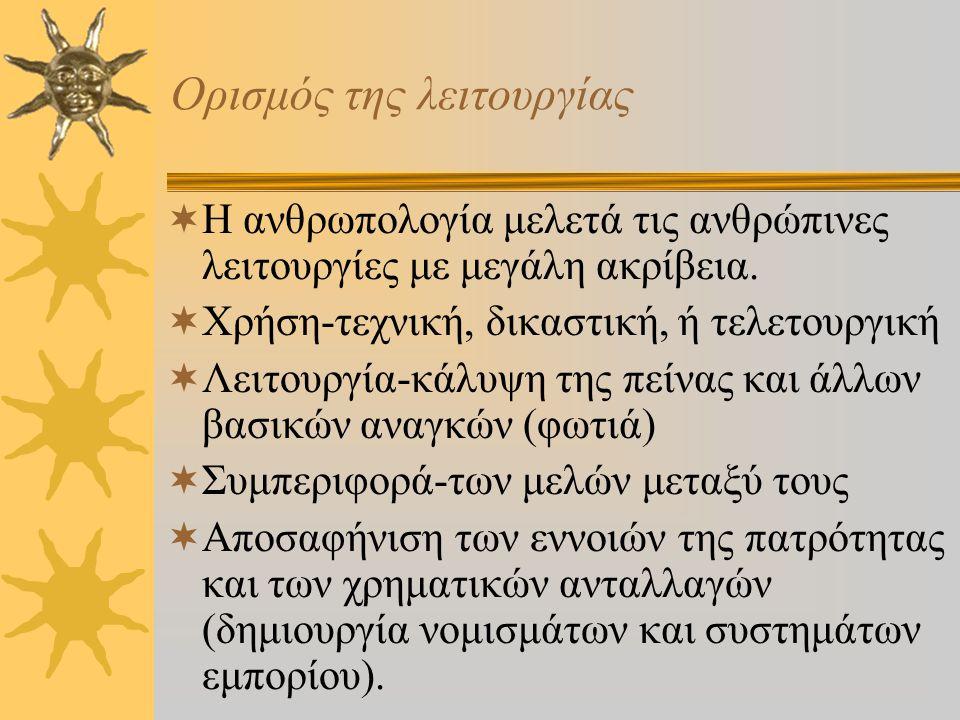 Σύντομη αναφορά στα αξιώματα της λειτουργικότητας ΙΙ από ΙΙ 4. Οι πολιτισμικές δραστηριότητες, οι στάσεις και τα αντικείμενα είναι οργανωμένα γύρω από