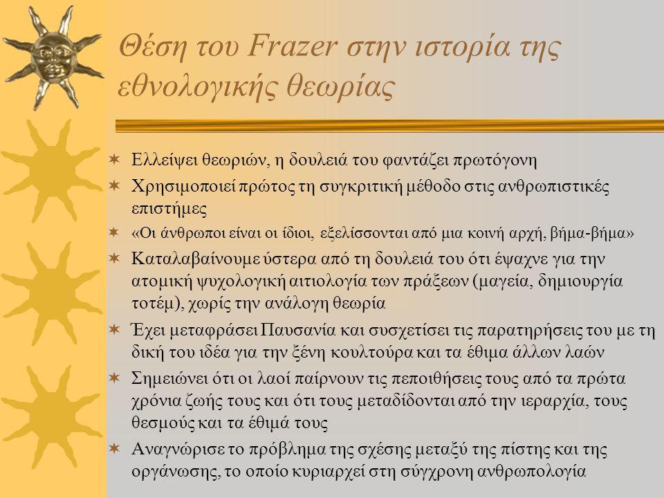 James Frazer - Ο άντρας και το έργο ΙΙ  Το εθνογραφικό του υλικό χρησιμοποιήθηκε από ιστορικούς, ψυχολόγους και φιλόσοφους  Ασχολήθηκε με θέματα όπω