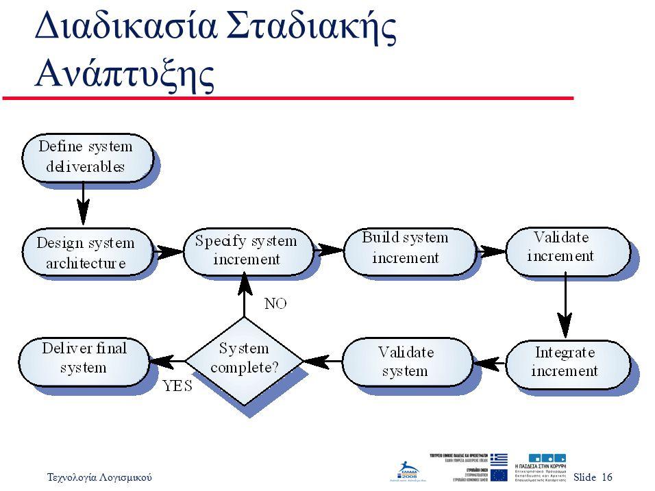 Τεχνολογία ΛογισμικούSlide 16 Διαδικασία Σταδιακής Ανάπτυξης