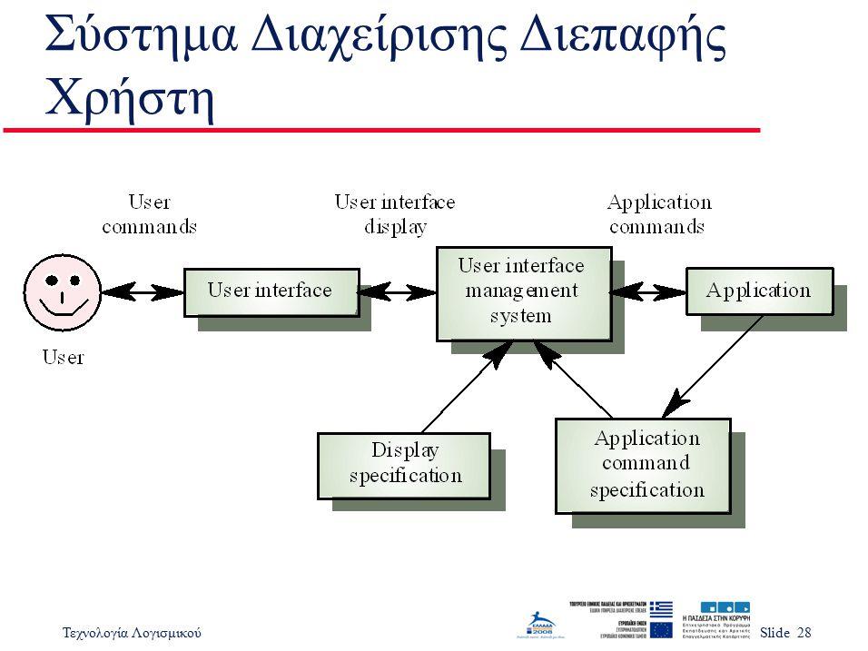 Τεχνολογία ΛογισμικούSlide 28 Σύστημα Διαχείρισης Διεπαφής Χρήστη