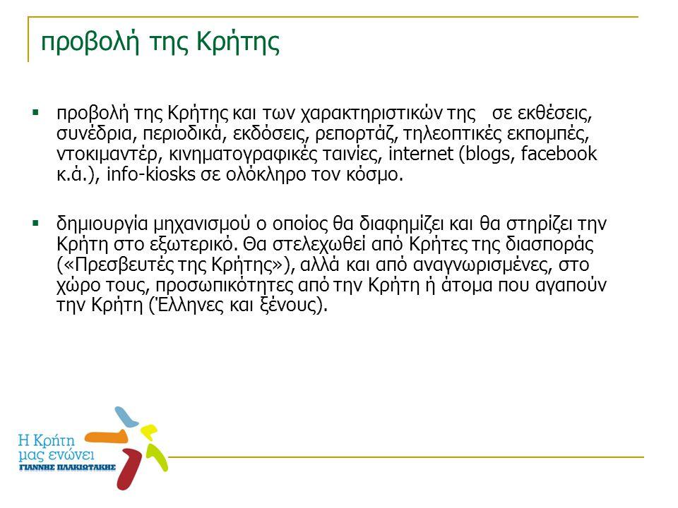 προβολή της Κρήτης  προβολή της Κρήτης και των χαρακτηριστικών της σε εκθέσεις, συνέδρια, περιοδικά, εκδόσεις, ρεπορτάζ, τηλεοπτικές εκπομπές, ντοκιμ
