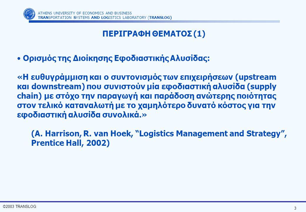 3 ©2003 TRANSLOG ATHENS UNIVERSITY OF ECONOMICS AND BUSINESS TRANSPORTATION SYSTEMS AND LOGISTICS LABORATORY (TRANSLOG) Ορισμός της Διοίκησης Εφοδιαστ