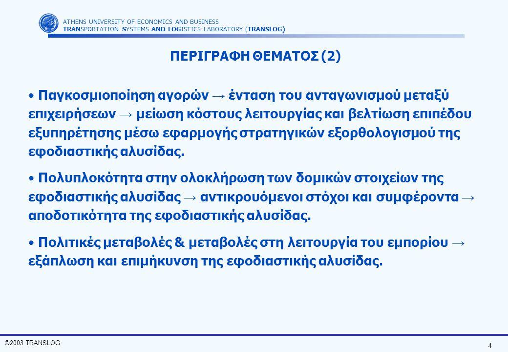 4 ©2003 TRANSLOG ATHENS UNIVERSITY OF ECONOMICS AND BUSINESS TRANSPORTATION SYSTEMS AND LOGISTICS LABORATORY (TRANSLOG) Παγκοσμιοποίηση αγορών → έντασ