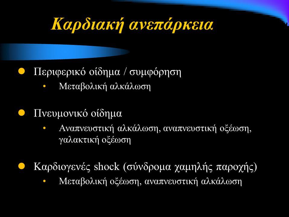 Καρδιακή ανεπάρκεια Περιφερικό οίδημα / συμφόρηση Μεταβολική αλκάλωση Πνευμονικό οίδημα Αναπνευστική αλκάλωση, αναπνευστική οξέωση, γαλακτική οξέωση Καρδιογενές shock (σύνδρομα χαμηλής παροχής) Μεταβολική οξέωση, αναπνευστική αλκάλωση