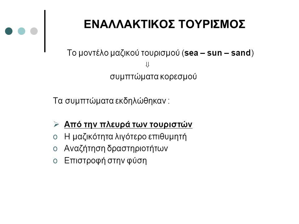 ΕΝΑΛΛΑΚΤΙΚΟΣ ΤΟΥΡΙΣΜΟΣ Το μοντέλο μαζικού τουρισμού (sea – sun – sand) ⇓ συμπτώματα κορεσμού Τα συμπτώματα εκδηλώθηκαν :  Από την πλευρά των τουριστώ