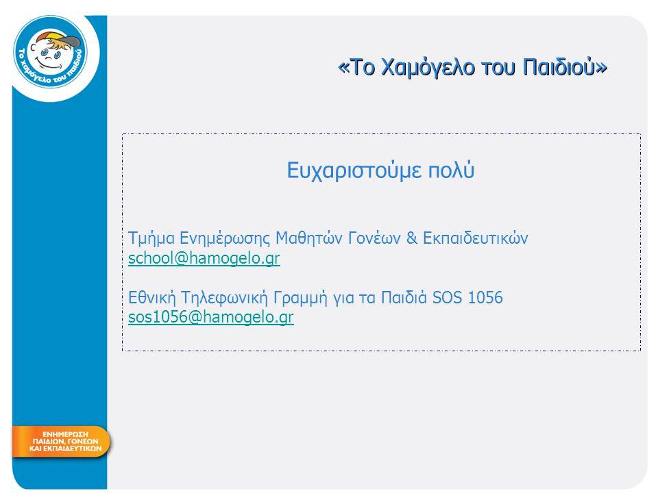 «Το Χαμόγελο του Παιδιού» Ευχαριστoύμε πολύ Tμήμα Ενημέρωσης Μαθητών Γονέων & Εκπαιδευτικών school@hamogelo.gr Εθνική Τηλεφωνική Γραμμή για τα Παιδιά