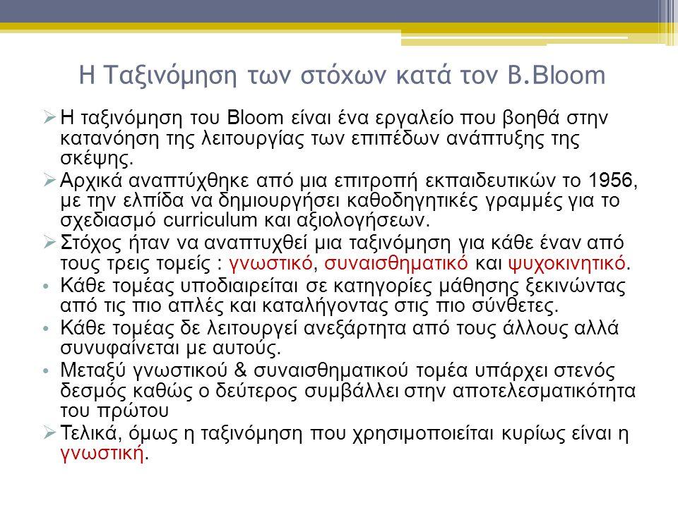 Η Ταξινόμηση των στόχων κατά τον Β. Bloom  Η ταξινόμηση του Bloom είναι ένα εργαλείο που βοηθά στην κατανόηση της λειτουργίας των επιπέδων ανάπτυξης