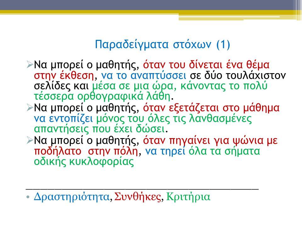  Να μπορεί ο μαθητής, όταν του δίνεται ένα θέμα στην έκθεση, να το αναπτύσσει σε δύο τουλάχιστον σελίδες και μέσα σε μια ώρα, κάνοντας το πολύ τέσσερ