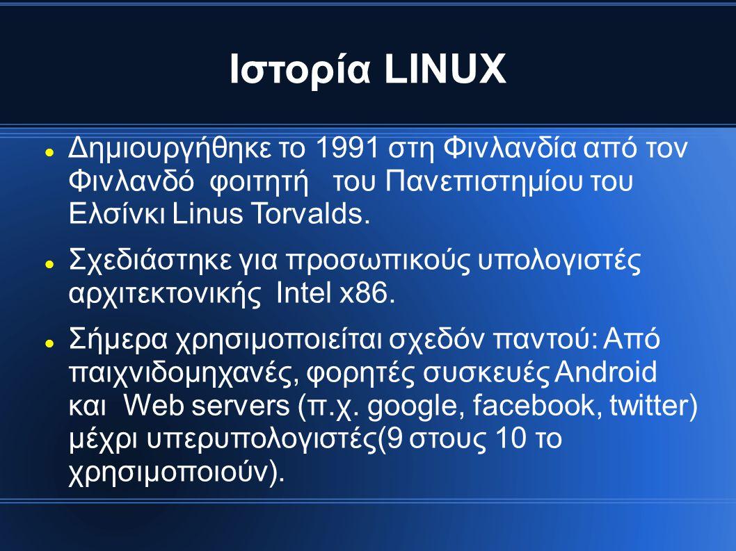 Ιστορία LINUX Δημιουργήθηκε το 1991 στη Φινλανδία από τον Φινλανδό φοιτητή του Πανεπιστημίου του Ελσίνκι Linus Torvalds.