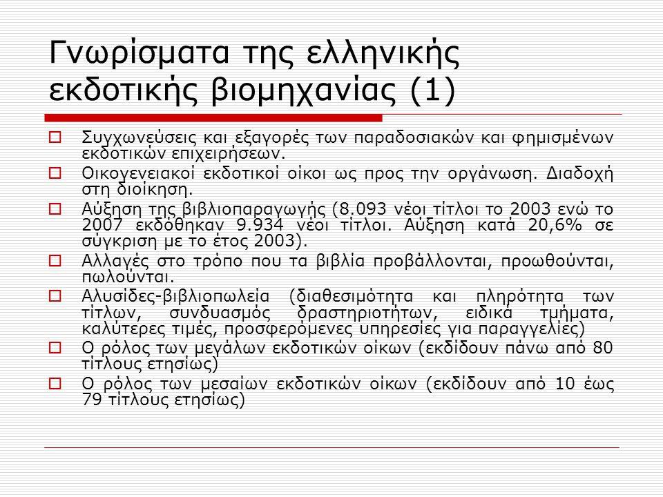 Γνωρίσματα της ελληνικής εκδοτικής βιομηχανίας (1)  Συγχωνεύσεις και εξαγορές των παραδοσιακών και φημισμένων εκδοτικών επιχειρήσεων.  Οικογενειακοί