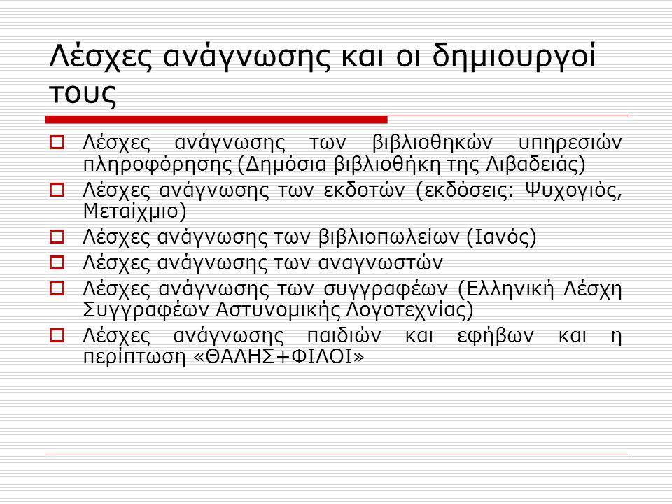 Λέσχες ανάγνωσης και οι δημιουργοί τους  Λέσχες ανάγνωσης των βιβλιοθηκών υπηρεσιών πληροφόρησης (Δημόσια βιβλιοθήκη της Λιβαδειάς)  Λέσχες ανάγνωσης των εκδοτών (εκδόσεις: Ψυχογιός, Μεταίχμιο)  Λέσχες ανάγνωσης των βιβλιοπωλείων (Ιανός)  Λέσχες ανάγνωσης των αναγνωστών  Λέσχες ανάγνωσης των συγγραφέων (Ελληνική Λέσχη Συγγραφέων Αστυνομικής Λογοτεχνίας)  Λέσχες ανάγνωσης παιδιών και εφήβων και η περίπτωση «ΘΑΛΗΣ+ΦΙΛΟΙ»