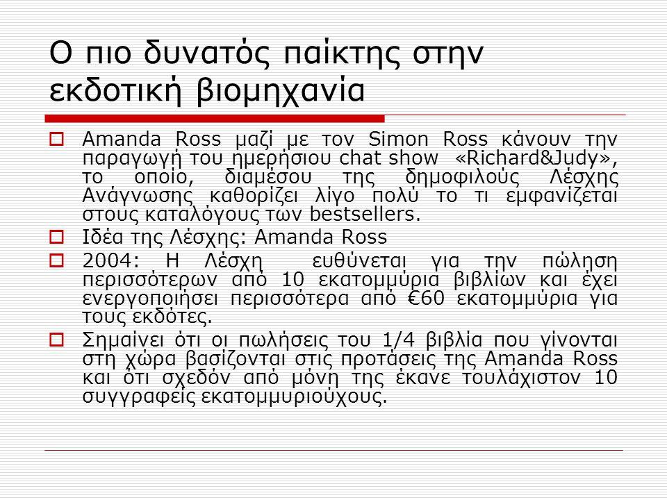 Ο πιο δυνατός παίκτης στην εκδοτική βιομηχανία  Amanda Ross μαζί με τον Simon Ross κάνουν την παραγωγή του ημερήσιου chat show «Richard&Judy», το οποίο, διαμέσου της δημοφιλούς Λέσχης Ανάγνωσης καθορίζει λίγο πολύ το τι εμφανίζεται στους καταλόγους των bestsellers.