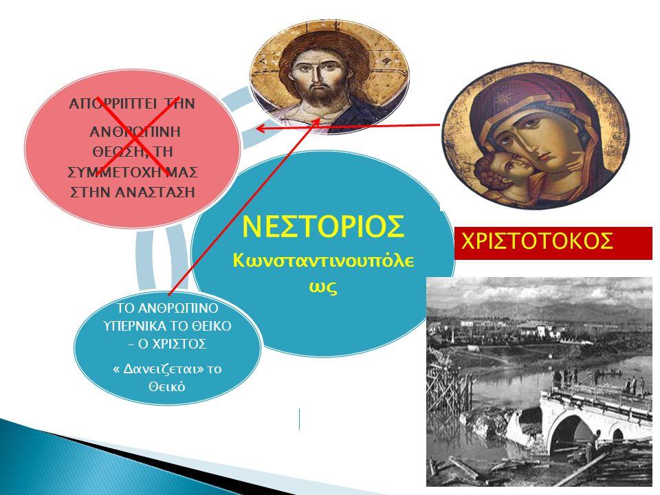 ΝΕΣΤΟΡΙΟΣ Κωνσταντινουπόλε ως ΑΠΟΡΡΙΠΤΕΙ ΤΗΝ ΑΝΘΡΩΠΙΝΗ ΘΕΩΣΗ, ΤΗ ΣΥΜΜΕΤΟΧΗ ΜΑΣ ΣΤΗΝ ΑΝΑΣΤΑΣΗ ΤΟ ΑΝΘΡΩΠΙΝΟ ΥΠΕΡΝΙΚΑ ΤΟ ΘΕΙΚΟ – Ο ΧΡΙΣΤΟΣ « Δανειζεται» το Θεικό ΧΡΙΣΤΟΤΟΚΟΣ