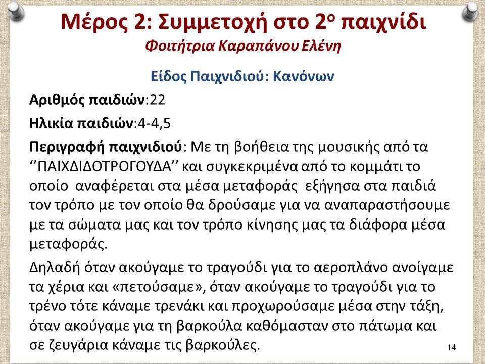 Μέρος 2: Συμμετοχή στο 2 ο παιχνίδι Φοιτήτρια Καραπάνου Ελένη Είδος Παιχνιδιού: Κανόνων Αριθμός παιδιών:22 Ηλικία παιδιών:4-4,5 Περιγραφή παιχνιδιού: